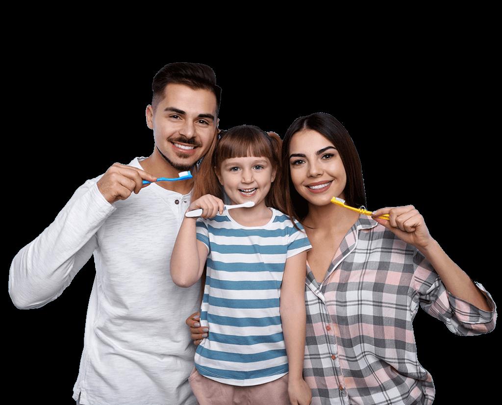 La familia se cepilla los dientes en el dentista de South Gate